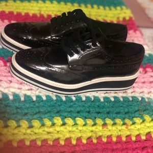 Prada Black Wingtip Brogue Oxford Platforms UK37